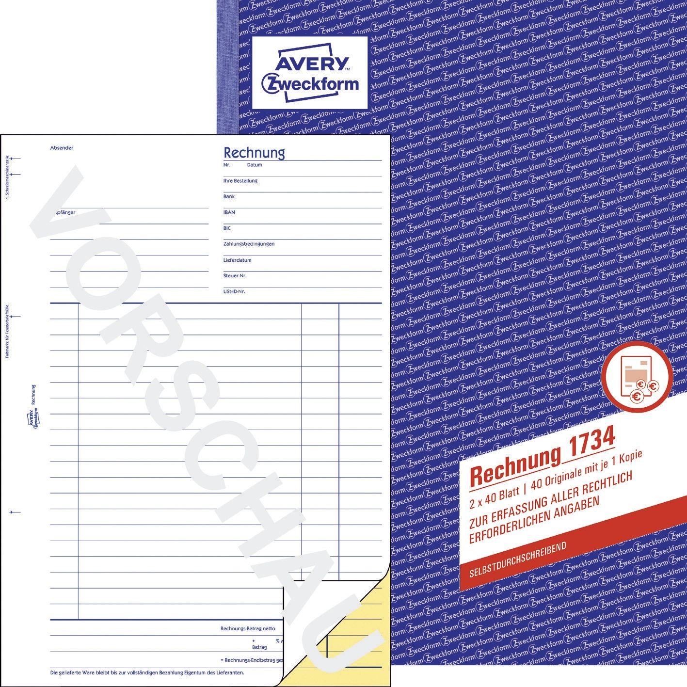 Rechnung Sd A4 2X50 Blatt 1734 Zweckform