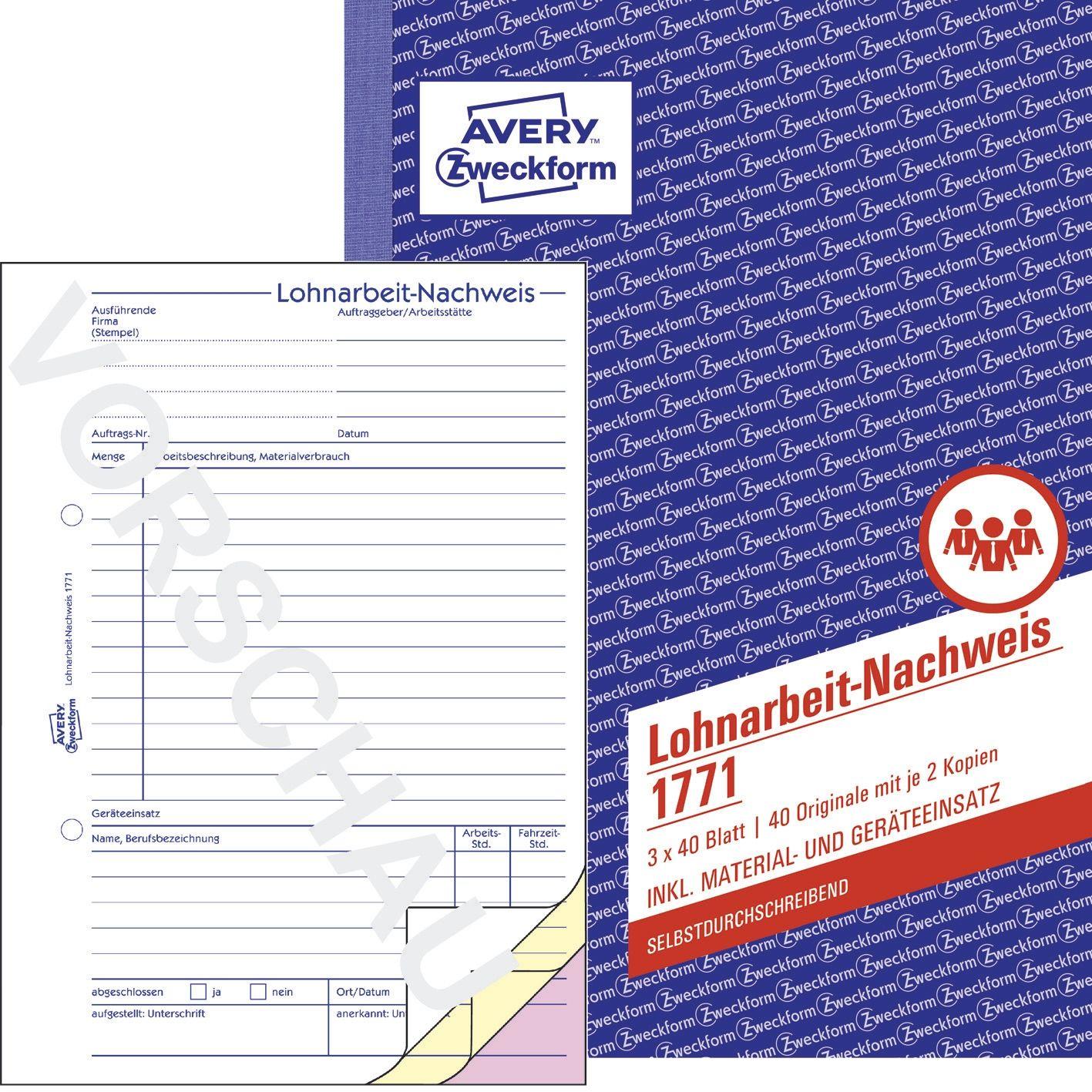Avery Zweckform Formularbuch Gesprächsnotiz gelb A5 50 Blatt Nachweis Notiz