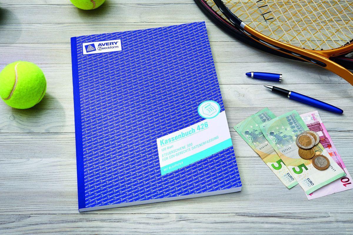 nach Steuerschiene 300 weiß 100 Bl. Avery Zweckform® 426 Kassenbuch A4