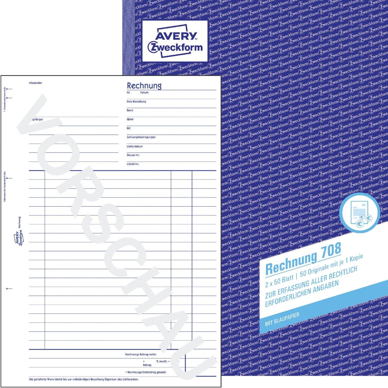 706 Rechnung DIN A6 vorgelocht 2x50 Blatt weiß Avery Zweckform