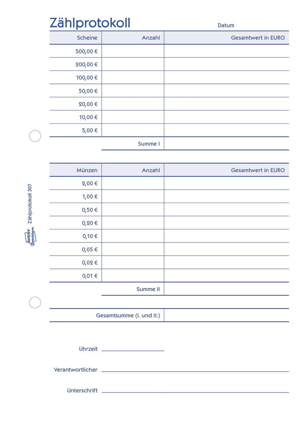 2x Zweckform Zählprotokoll 307 A5 für offene Ladenkasse Kassenformular 50 Blatt