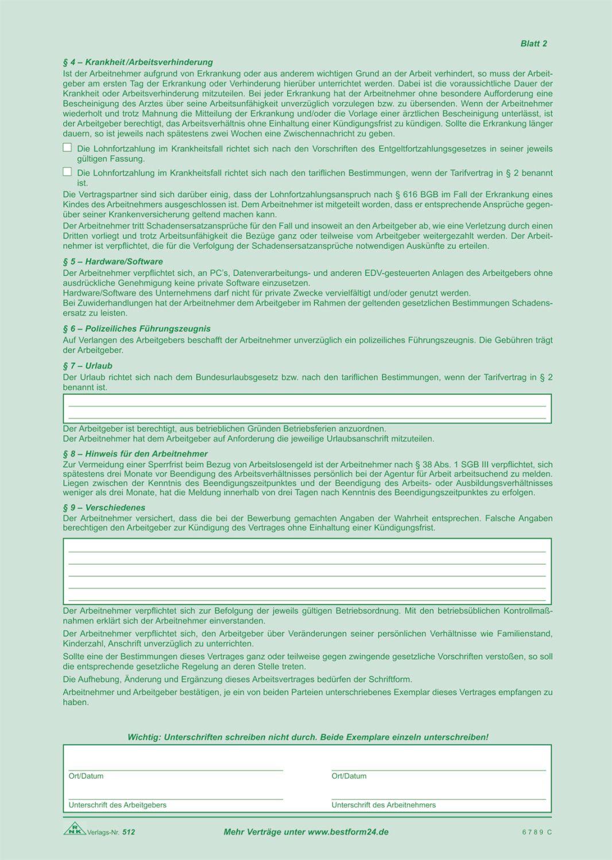 Rnk Arbeitsvertrag Befristet A4 Sd Schreibwaren
