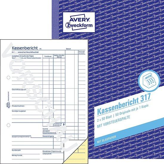 5x Zweckform Kassenabrechnung 427 A4 je Buch 2x 50 Blatt AVERY mit MwSt.-Spalte