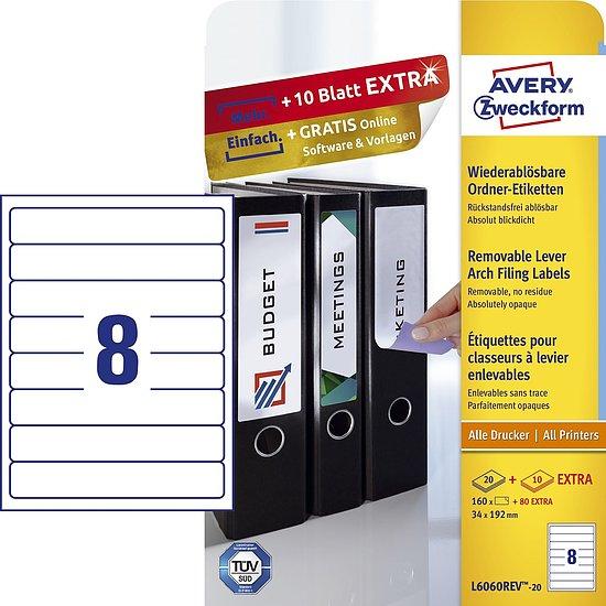 breit 10 Blatt blickdicht weiß 40 Ordner-Etiketten 192 x 61 mm HERMA 4284