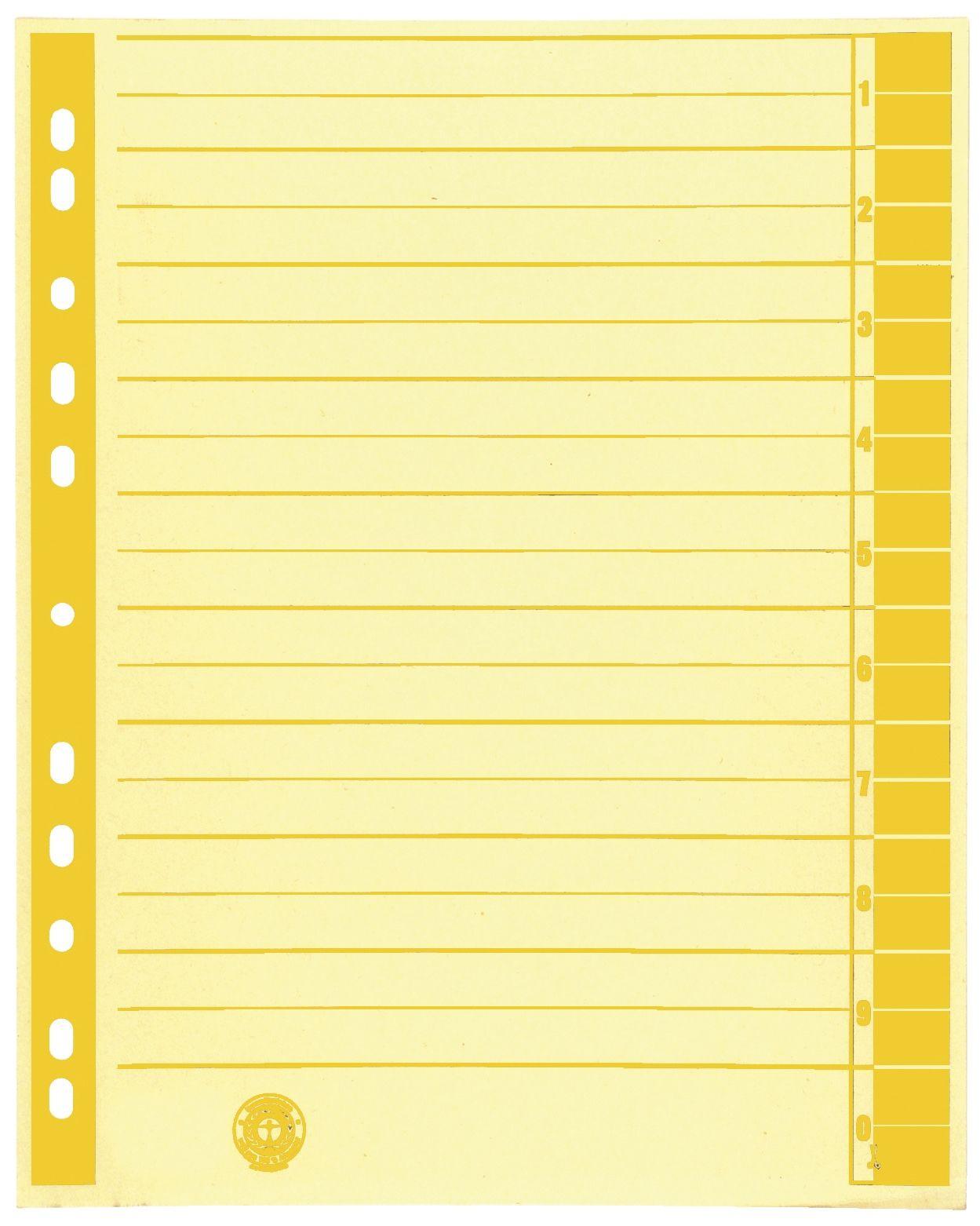 Trennblätter A4 Ungeöst  Gelb