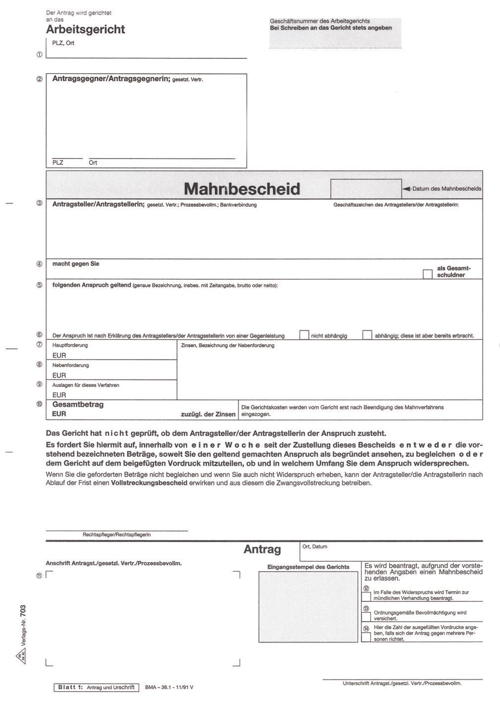 Rnk Verlag 703 Antrag Mahn Und Vollstreckungsbescheid