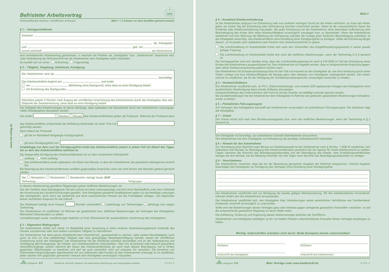 Rnk Verlag 512 Befristeter Arbeitsvertrag Sd 2x2 Blatt Din A4