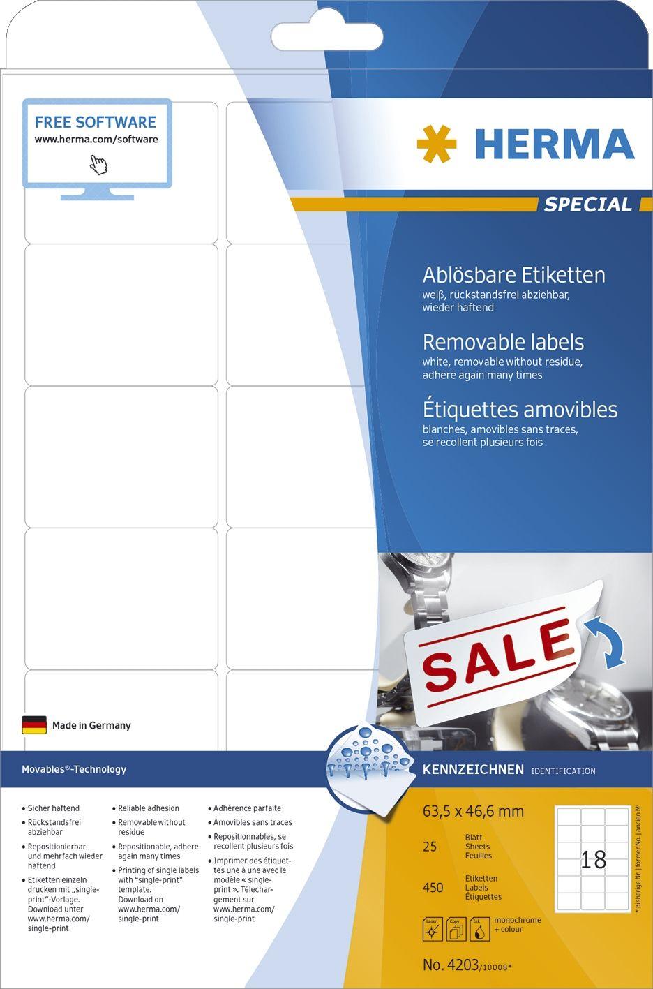 Herma 4203 4203 Etiketten A4 Weiß 63 5x46 6 Mm Movables Ablösbar Papier Matt 450 St