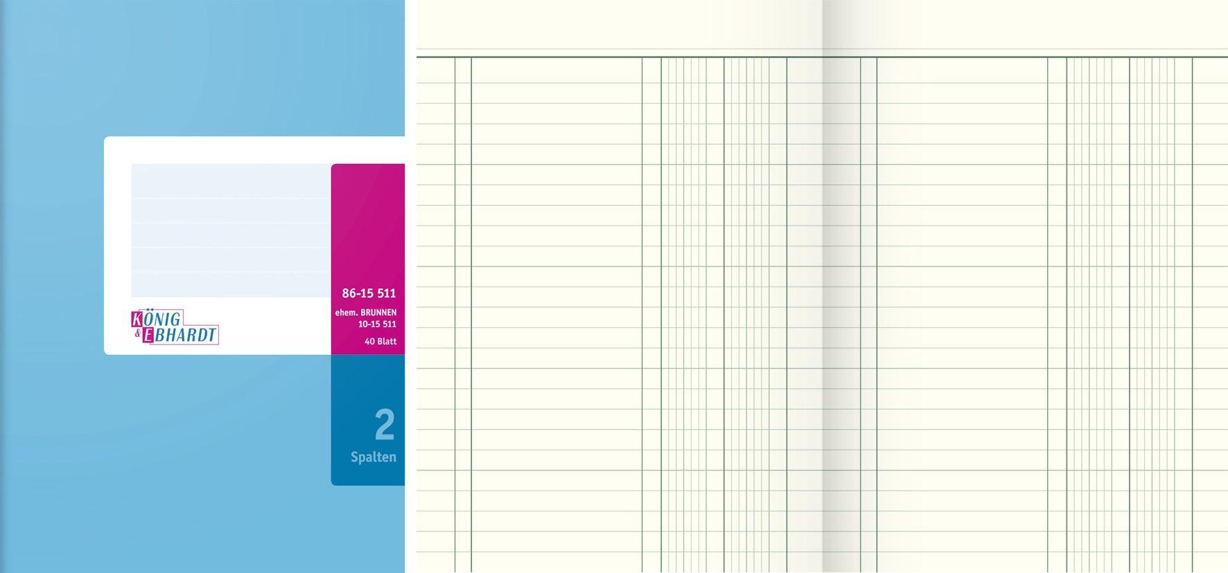 König /& Ebhardt Spaltenbuch A5 2 Spalten 40 Blatt NEU 86-15511