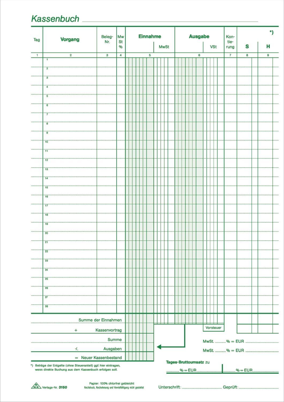 ohne Umsatzsteuererfassung DIN A4 FRACHTFREI RNK Verlag Kassenbuch