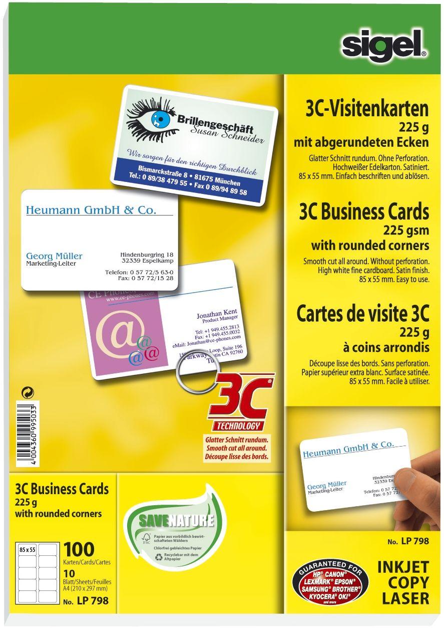 Sigel Lp798 Visitenkarten 3c Glatter Schnitt Rundum Mit Abgerundeten Ecken 225 G Qm Hochweiß 100 Stück