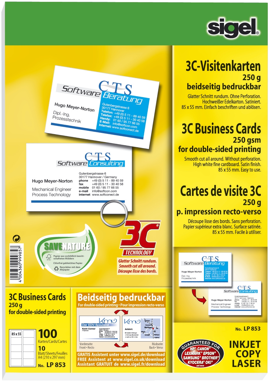 Sigel Visitenkarten 85 X 55 Mm 185 G Qm Hochweiß 600