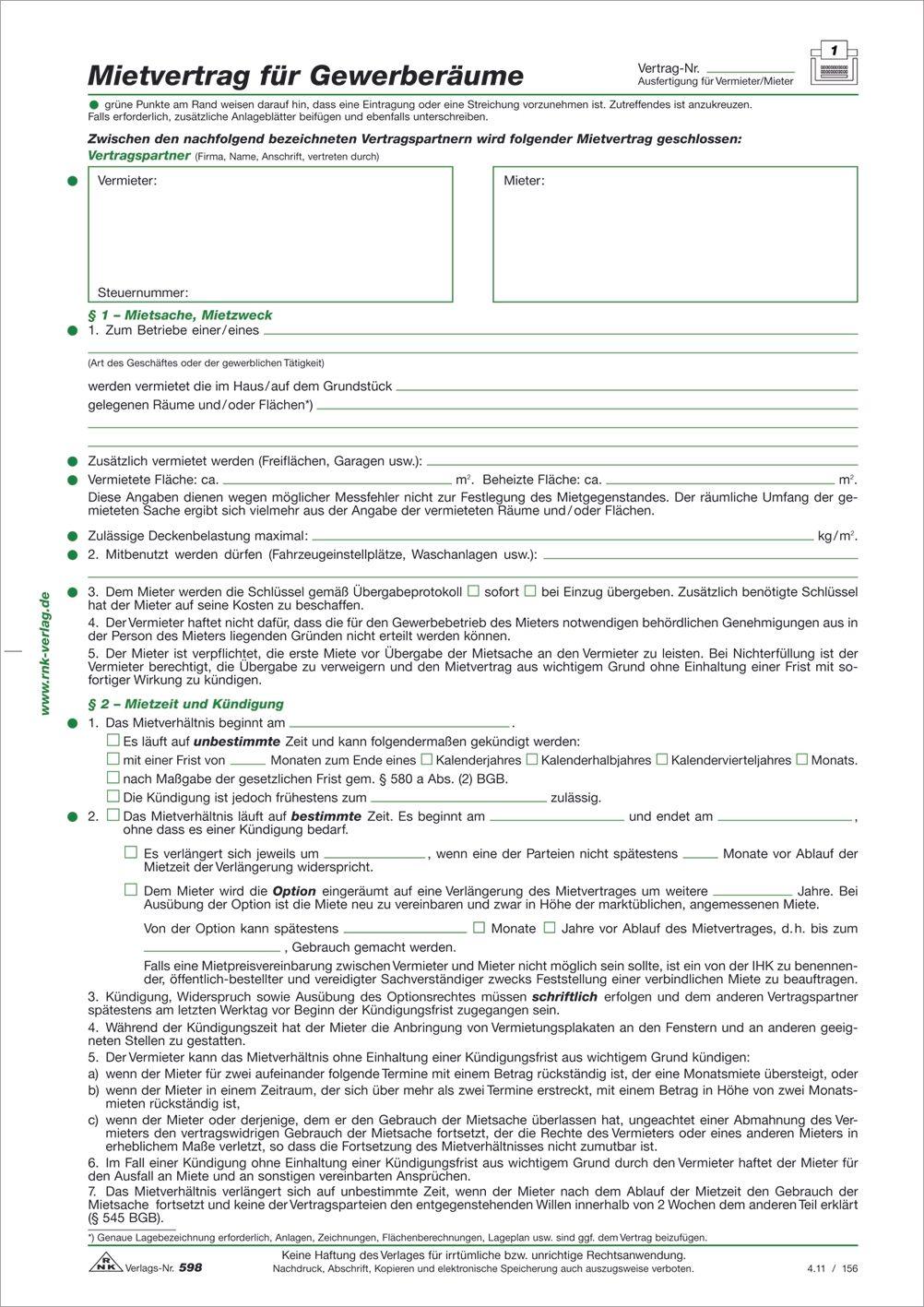 Rnk Verlag 59810 Mietvertrag Für Gewerberäume 6 Seiten Gefalzt