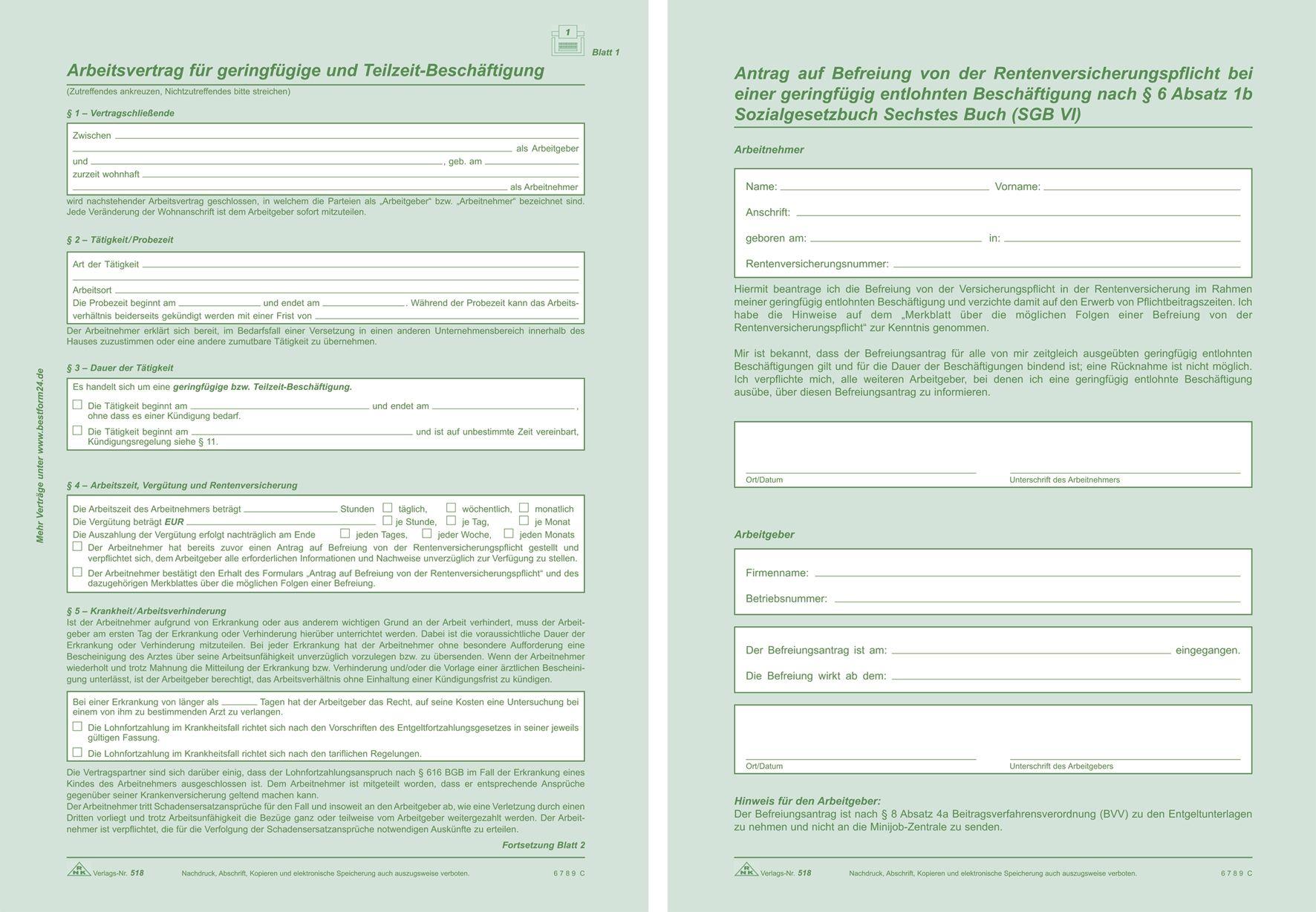 Rnk Verlag 518 Arbeitsvertrag Geringfügig Beschäftigte Sd 2x2
