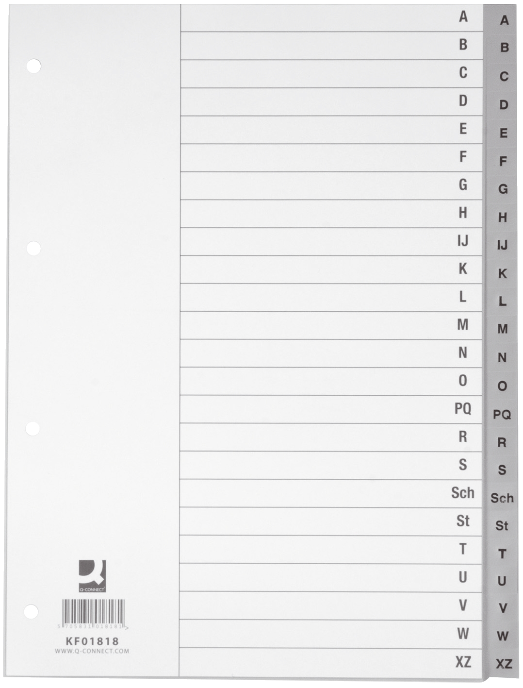 Z 24 Blatt Q-Connect Register ohne Index grau PP 21 cm hoch A4 A
