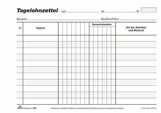 mit Durchschreibepapier 3 x 50 Blatt RNK Tagelohnzettel DIN A4 180 Block