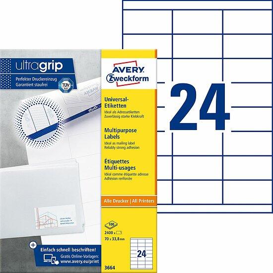 Avery Zweckform Vielzwecketiketten Etiketten weiß 18 Stück 66x38 Beschriftung