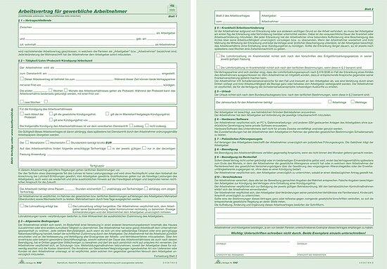 Rnk Verlag 542 Arbeitsvertrag Für Gewerbliche Arbeitnehmer Sd 2 X