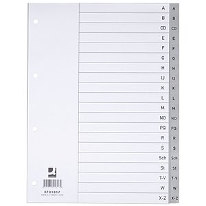 Q-Connect® KF01817 Register - A - Z, PP, mit Index, A4, 20 Blatt, grau