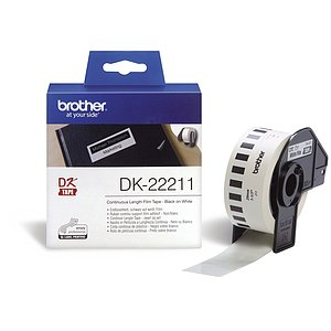Brother DK22211 DK-Endlosetiketten Film-Etiketten 29 mm x 15,24 m weiß