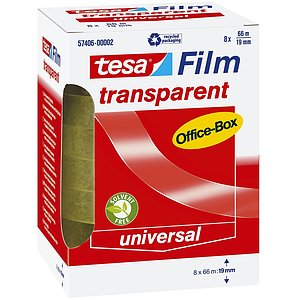 Tesa® 57406-00002-00 Klebefilm Office Box - transparent 8 St., Bandgröße (L x B): 66 m x 19 mm