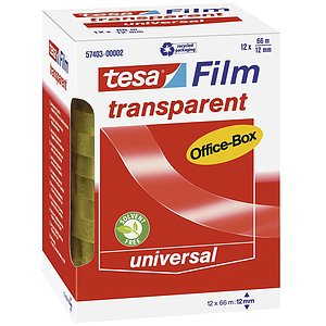 Tesa® 57403-00002-00 Klebefilm Office Box - transparent 12 St., Bandgröße (L x B): 66 m x 12 mm