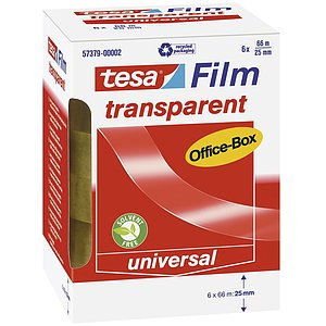Tesa® 57379-00002-00 Klebefilm Office Box - transparent 6 St., Bandgröße (L x B): 66 m x 25 mm