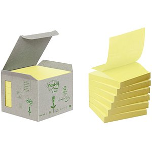 Post-it® R330-1B Recycling Z-Notes - 76 x 76 mm, pastellgelb
