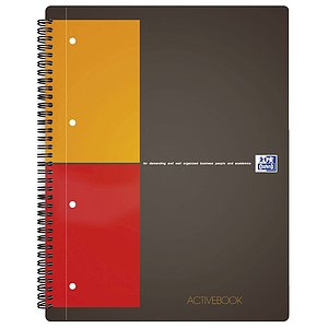 Oxford 100104329 International Activebook - A4+, 5 mm kariert, 80 Blatt, Register und Dokumententasche, grau