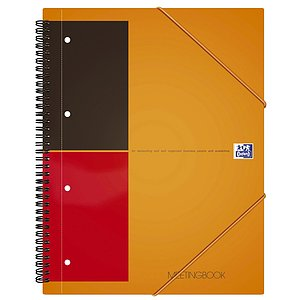 Oxford 100104296 International Meetingbook - 2 in 1 Block und Gummizugmappe, A4+, liniert, 80 Blatt, orange