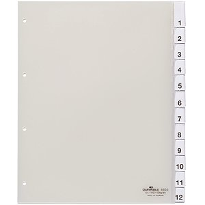 Durable 683519 Register, Hartfolie, transparent, DIN A4, Überbreite, 230/245 x 297 mm, 12 Blatt