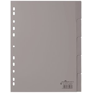Durable 6440 10 Register - PP, blanko, grau, A4, 5 Blatt